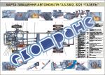 """Плакат """"Карта змащення автомобіля ГАЗ-3302, 3221 """"Газель"""""""