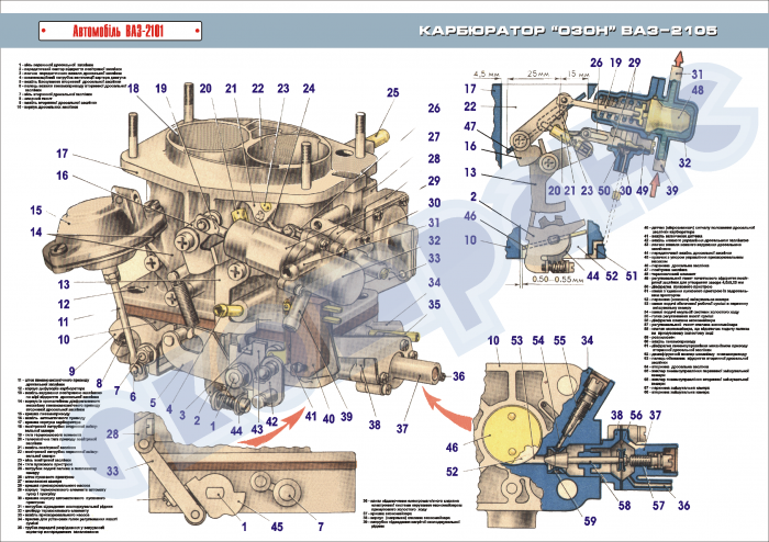 Схема карбюратора для ваз 2105